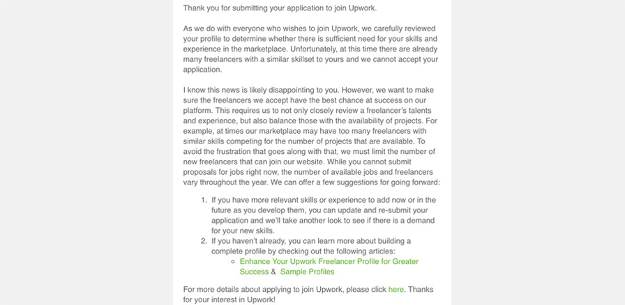 Upwork not approve profile. We've reviewed your profile and currently our marketplace