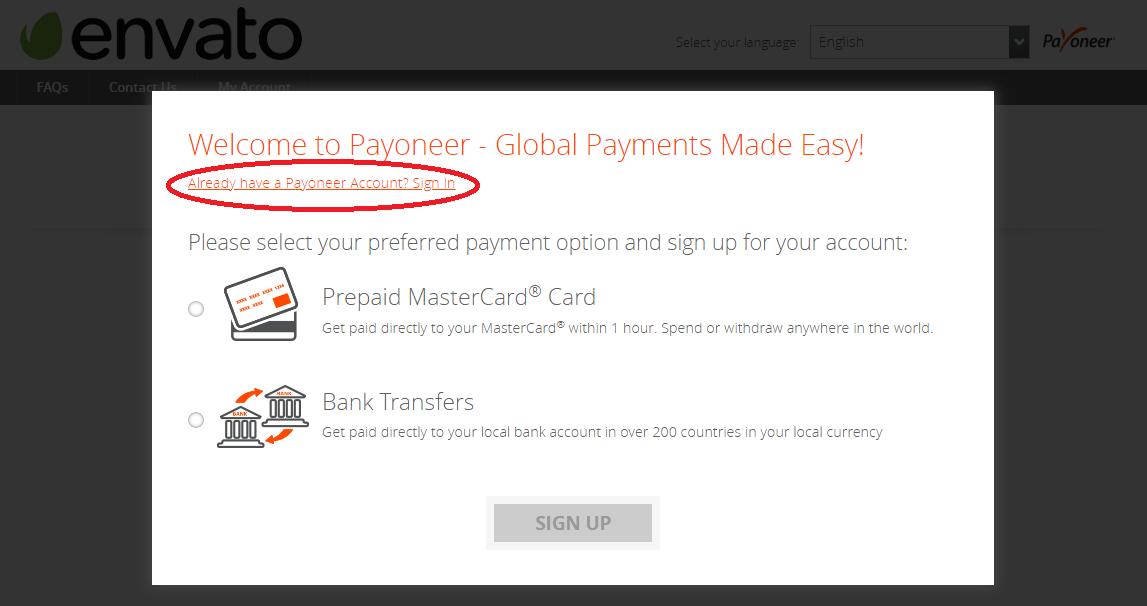 Привязка существующего аккаунта Payoneer к Envato
