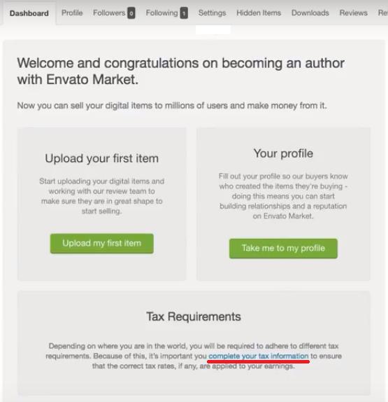 Налоговая информация Envato