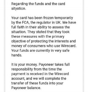 Payoneer заморозил карты